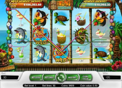 Tiki Wonders Review Slots 135 coin big win triggered by a couple of wild symbols
