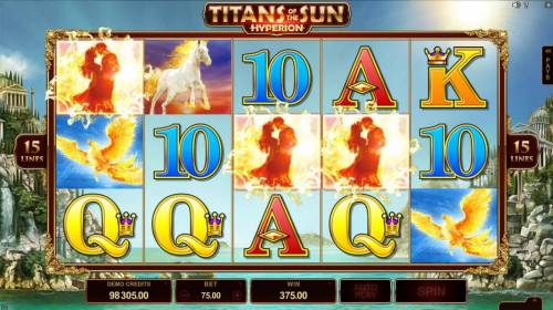 Titans of the Sun - Hyperion Review Slots Free spins feature triggered when three or more LOVERS scatter symbols appear anywhere on screen.