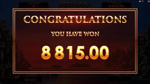 Titans of the Sun - Hyperion Review Slots An $8,815.00 super big win is paid out after Free Spins game play ends.