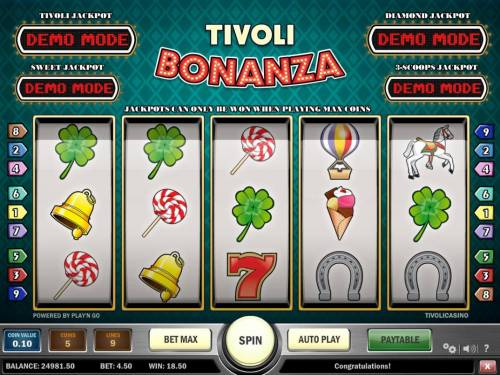 Tivoli Bonanza Review Slots A winning Three of a Kind