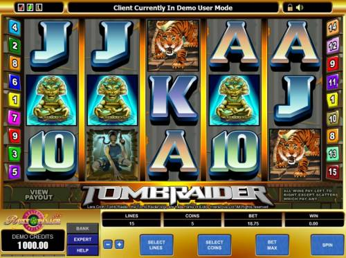 Tomb Raider Review Slots main game board featuring 5 reels and 15 paylines