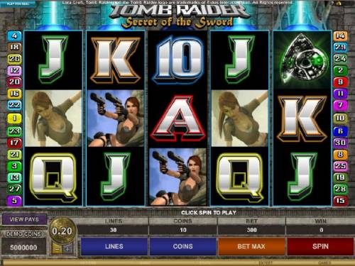 Tomb Raider Secret of the Sword Review Slots main game board featuring five reels and thirty paylines