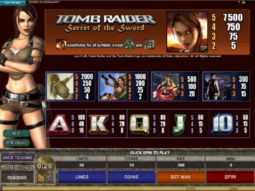 Tomb Raider Secret of the Sword Review Slots slot game symbols paytable