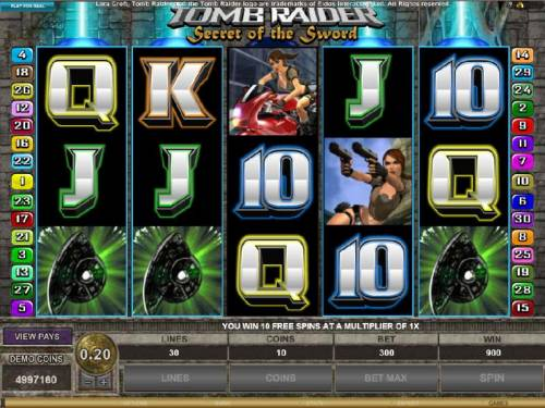 Tomb Raider Secret of the Sword Review Slots ten free games awarded