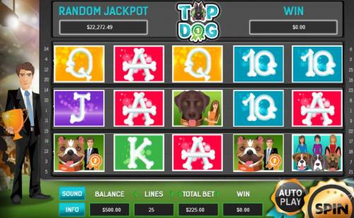 Top Dog Review Slots Main game board featuring five reels and 25 paylines with a $80,000 max payout