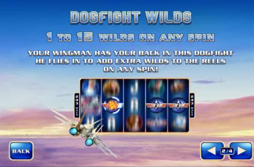 Top Gun Review Slots Dogfight Wilds - 1- to 15 wilds on any spin. Your wingman has your back in this dogfight heflies in to add extra wilds to the reels on any spin!