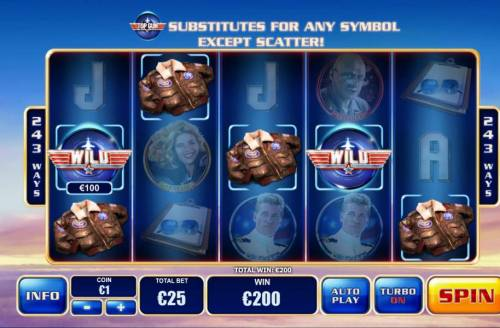 Top Gun Review Slots Multiple winning combinations triggers a 200.00 payout
