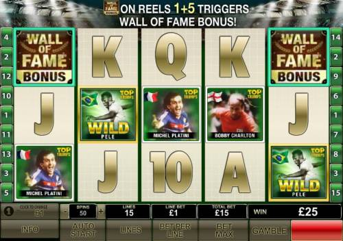 Top Trumps Football Legends Review Slots wall of fame bonus triggered on reels one and five