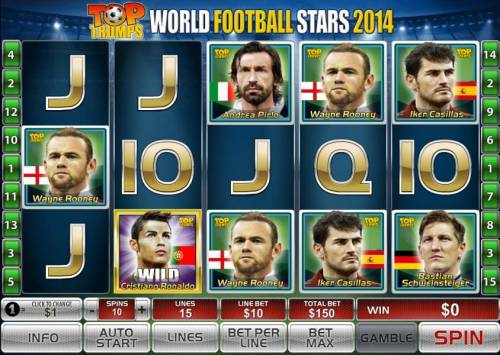 Top Trumps World Football Stars 2014 Review Slots Main game board featuring five reels and 15 paylines with a $50,000 max payout