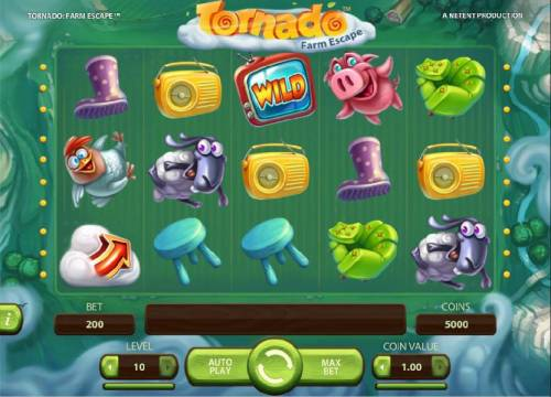 Tornado Farm Escape Review Slots Main game board featuring five reels and 20 paylines with a $7,000 max payout