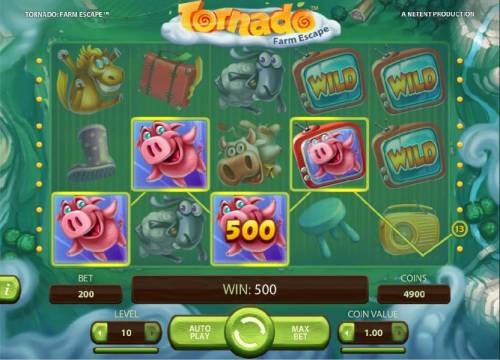 Tornado Farm Escape Review Slots Four of a kind triggers a 500 coin payout for a BIG WIN!