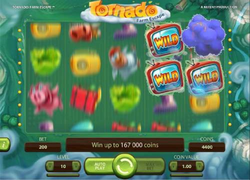 Tornado Farm Escape Review Slots Storm Feature - The storm is randomly triggered during regular game play. The Storm will move around the game board changing symbols into Wilds.