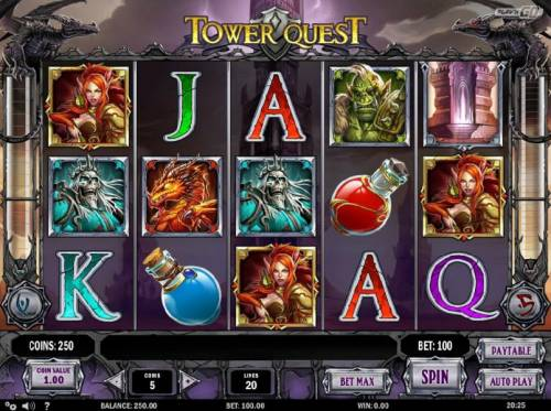 Tower Quest Review Slots Main game board featuring five reels and 20 paylines with a $2,500 max payout