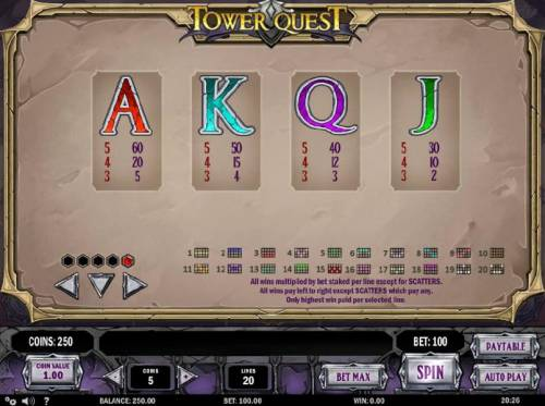 Tower Quest Review Slots Low value game symbols paytable and payline diagrams