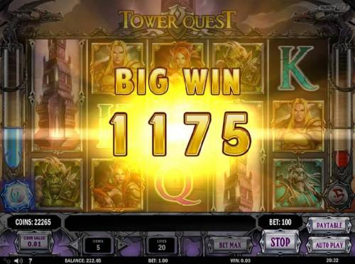 Tower Quest Review Slots A Big Win triggers a 1175 coin payout