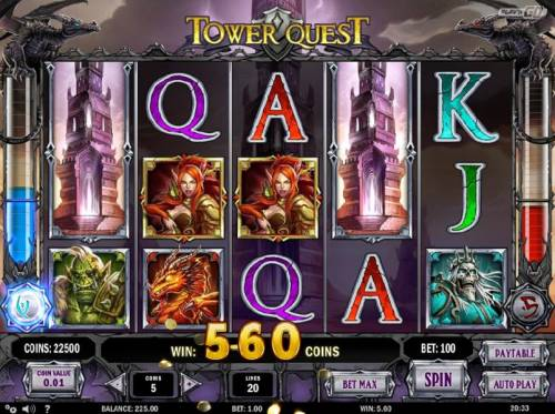 Tower Quest Review Slots tower wild triggers a 560 coins big win