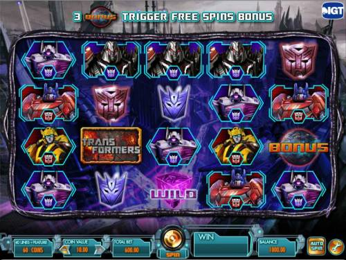 Transformers - Battle for Cybertron  Review Slots main game board featuring five reels and forty lines