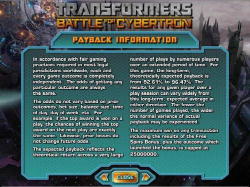 Transformers - Battle for Cybertron  Review Slots payback information