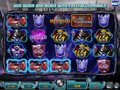 Transformers - Battle for Cybertron  Review Slots three of a kind triggers a $120 payout