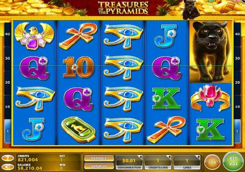 Treasures of the Pyramids Review Slots Main game board featuring five reels and 40 paylines with a $50,000 max payout