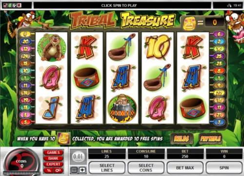 Tribal Treasure Review Slots Main game board featuring five reels and 25 paylines with a $20,000 max payout