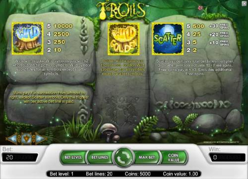 Trolls Review Slots wild, wild golden and scatter feature game rules