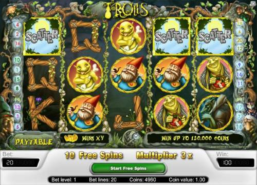 Trolls Review Slots three scatter symbols triggers 10 free spins