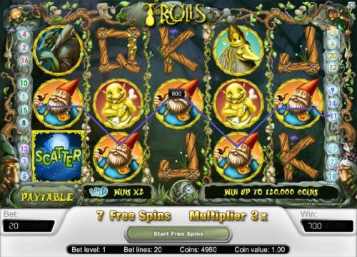 Trolls Review Slots five of a kind triggers a 600 coin jackpot