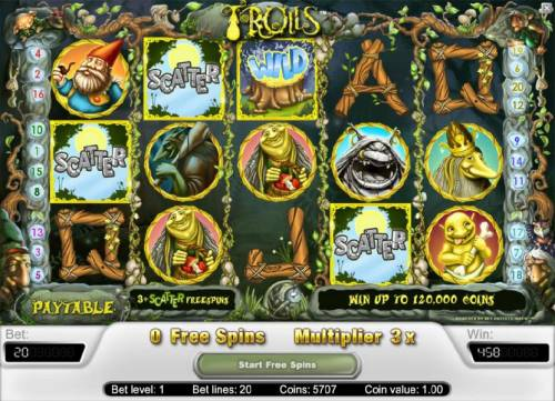 Trolls Review Slots the free spins feature payout 458 coins