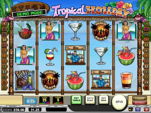 Tropical Holiday Review Slots main game board featuring five reels, 25 paylines and a progressive jackpot