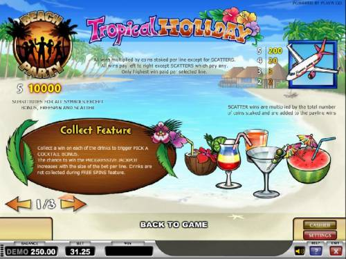 Tropical Holiday Review Slots wild, scatter and collect feature pays