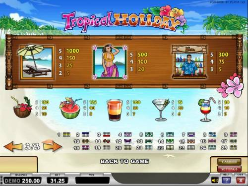 Tropical Holiday Review Slots slot game symbols paytable and payline diagrams