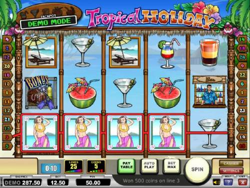 Tropical Holiday Review Slots four of a kind triggers a $50 payout