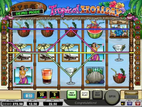 Tropical Holiday Review Slots multiple winning paylines triggers a modest $22.50 jackpot