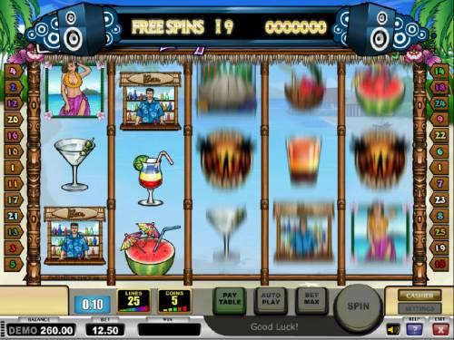 Tropical Holiday Review Slots free spins feature game board