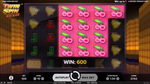 Twin Spin Deluxe Review Slots A 600 coin win triggered by a cluster of cherry symbols