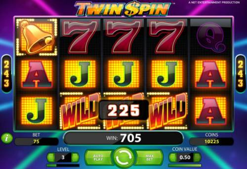 Twin Spin Review Slots a 705 coin payout triggered by multiple winning combinations