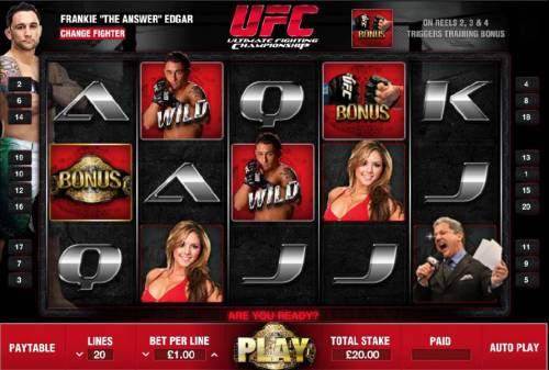 Ultimate Fighting Championship Review Slots main game board featuring five reels and twenty paylines with a 1000x max payout