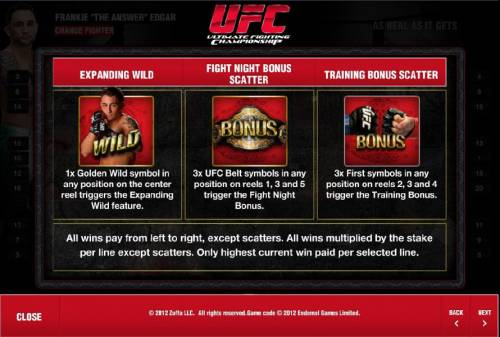 Ultimate Fighting Championship Review Slots expanding wild, fight night bonus scatter and training bonus scatter rules