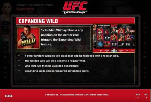 Ultimate Fighting Championship Review Slots expanding wild rules