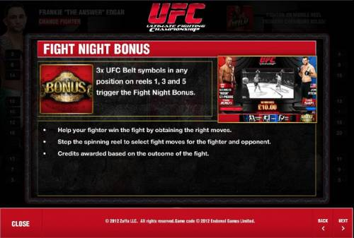 Ultimate Fighting Championship Review Slots fight night bonus rules and how to play