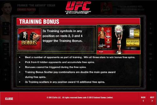 Ultimate Fighting Championship Review Slots training bonus rules and how to play