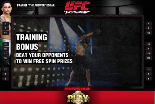 Ultimate Fighting Championship Review Slots training bonus - beat your opponents to win free spin prizes