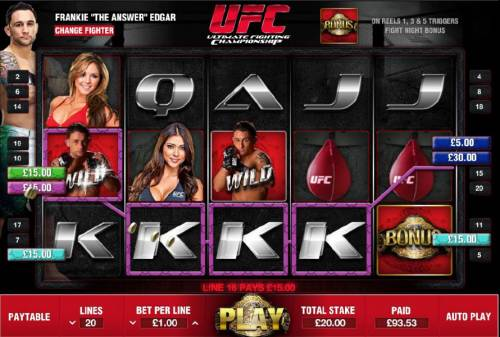 Ultimate Fighting Championship Review Slots $95 jackpot triggered by multiple winning paylines