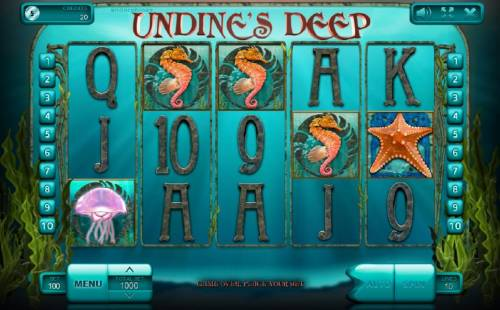 Undine's Deep Review Slots Main game board featuring five reels and 10 paylines with a $900,000 max payout. An underwater adventure themed slot featuring various sea life and a mermaid.