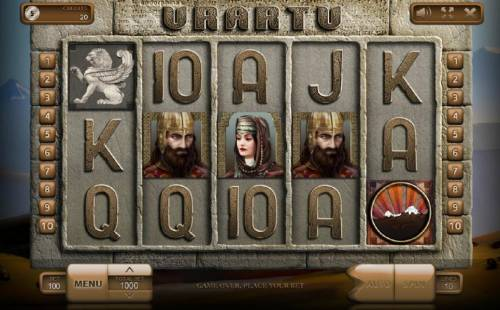 Urartu Review Slots Main game board featuring five reels and 10 paylines with a $900,000 max payout