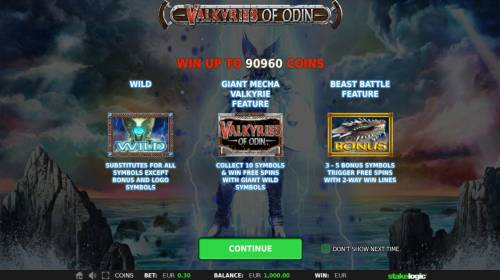 Valkyries of Odin Review Slots Game features include: Wilds, Bonus Game, Free Games and a chance to win up to 90960 coins