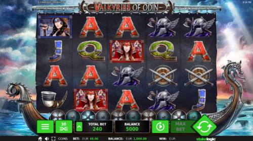 Valkyries of Odin Review Slots Main game board featuring five reels and 30 paylines with a $18,192 max payout.
