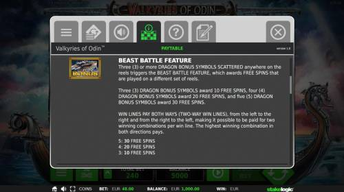 Valkyries of Odin Review Slots Beast Battle Feature Rules