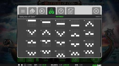 Valkyries of Odin Review Slots Payline Diagrams 1-20